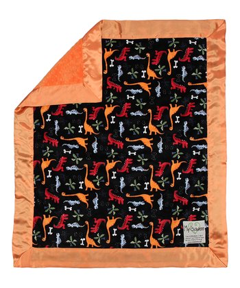 Black & Orange Dino Bone Stroller Blanket