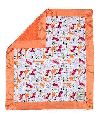 White & Orange Dino Bone Stroller Blanket