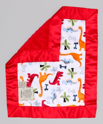 White & Red Dino Bone Security Blanket
