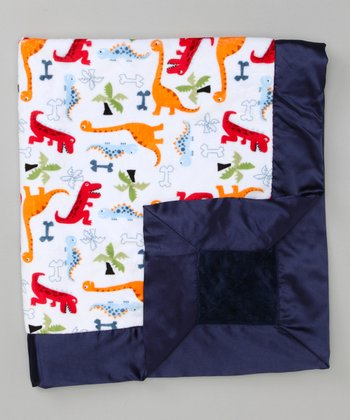 White & Navy Blue Dino Bone Stroller Blanket