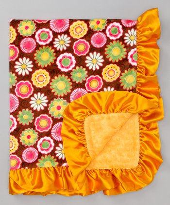 Brown & Mango Flower Stroller Blanket