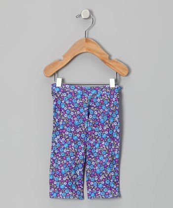 Blue & Purple Daisy Pants - Infant