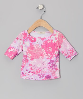 Pink & Lavender Elizabeth Three-Quarter Sleeve Tee - Infant