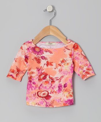 Pink & Orange Jessica Three-Quarter Sleeve Tee - Infant