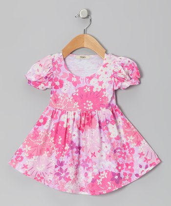 Pink & Lavender Elizabeth Puff-Sleeve Dress - Infant