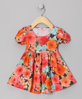 Orange & Green Rose Puff-Sleeve Dress - Infant