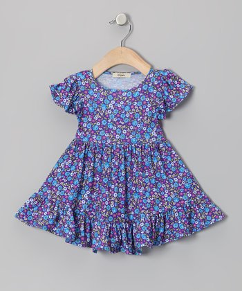 Blue & Purple Daisy Angel-Sleeve Dress - Infant