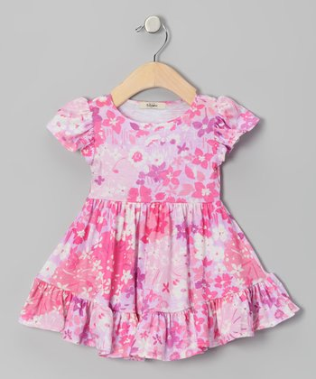 Pink & Lavender Elizabeth Angel-Sleeve Dress - Infant