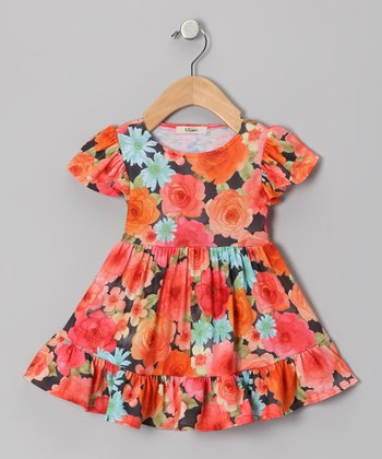 Orange & Green Rose Angel-Sleeve Dress - Infant
