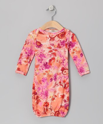 Pink & Orange Jessica Long Sleeve Gown - Infant