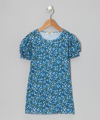 Blue Mia Puff-Sleeve Dress - Toddler & Girls