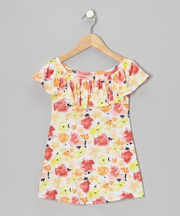 Orange Ruffle Christine Swing Dress - Toddler & Girls