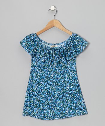 Blue Ruffle Mia Swing Dress - Toddler & Girls