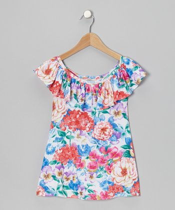 Blue Ruffle Rosemarie Swing Dress - Toddler & Girls