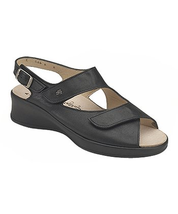 Black Nappa Djerba Wedge Sandal