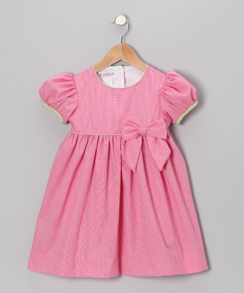 Powerhouse Pink Gingham Puff-Sleeve Dress - Infant & Toddler