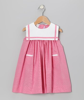 Powerhouse Pink Gingham Sailor Float Dress - Infant