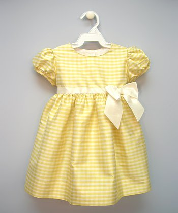 Yellow Gingham Silk Puff-Sleeve Dress - Infant & Toddler