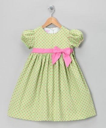 Green & Pink Pique Dress - Toddler