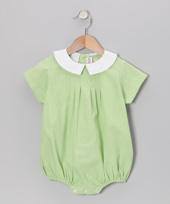 Lime Green Gingham Bubble Bodysuit - Infant