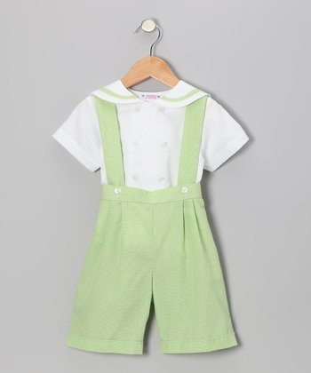 Lime Green Gingham Button-Up & Shortalls - Infant, Toddler & Boys