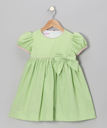 Lime Green Gingham Puff-Sleeve Dress - Infant & Toddler