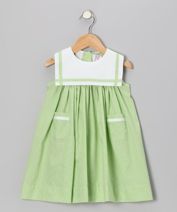 Lime Green Gingham Sailor Float Dress - Infant