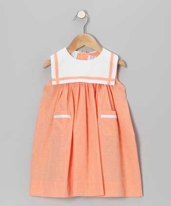 Orange Gingham Sailor Float Dress - Infant