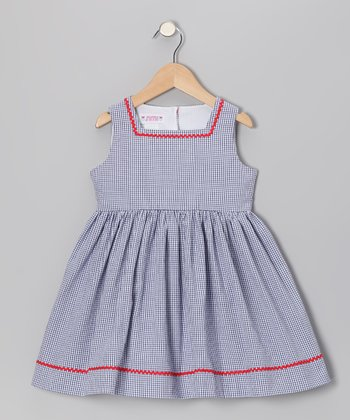 Navy Gingham Seersucker Sundress - Toddler & Girls