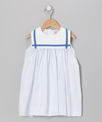 White & Blue Windowpane Plaid Sailor Float Dress - Infant