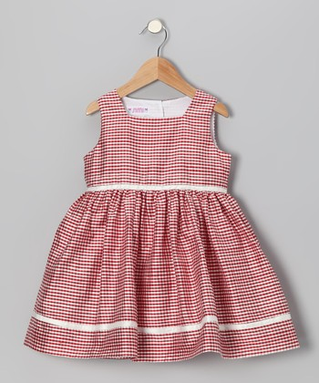 Red Gingham Shantung Silk Sundress - Toddler & Girls