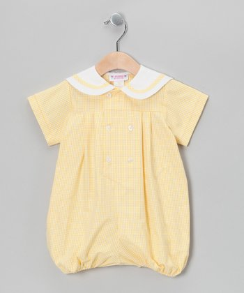 Yellow Gingham Sailor Bubble Bodysuit - Infant