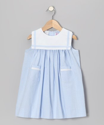 Light Blue Gingham Seersucker Sailor Float Dress - Infant