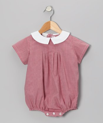 Burgundy Gingham Bubble Bodysuit - Infant