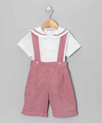 Burgundy Gingham Button-Up & Shortalls - Infant, Toddler & Boys