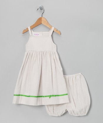 Khaki Stripe Dress & Bloomers - Infant & Toddler
