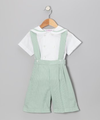 Green Stripe Suspender Shorts & Button-Up - Infant & Boys