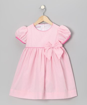 Pink Gingham Puff-Sleeve Dress - Infant & Toddler