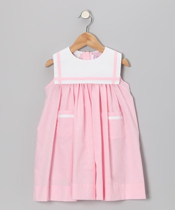 Pink Gingham Sailor Float Dress - Infant