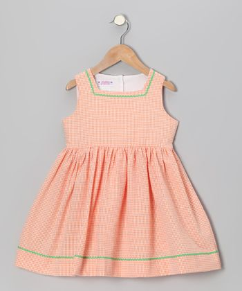 Orange Gingham Seersucker Sundress - Toddler & Girls
