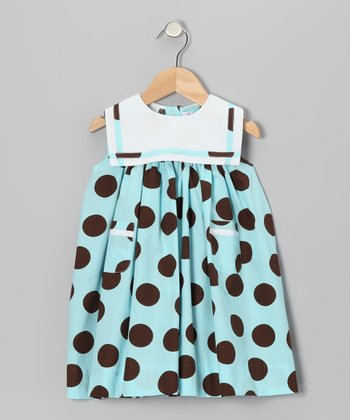 Aqua & Brown Polka Dot Sailor Float Dress - Infant