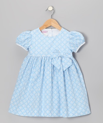 Light Blue Lattice Puff-Sleeve Dress - Toddler