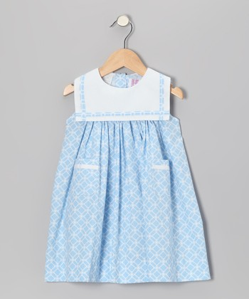 Light Blue Lattice Sailor Float Dress - Infant