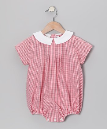 Red Gingham Seersucker Bubble Bodysuit - Infant