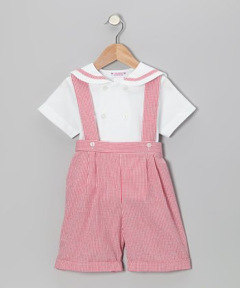 Red Gingham Button-Up & Shortalls - Infant & Boys