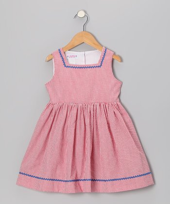 Red Gingham Seersucker Sundress - Toddler & Girls