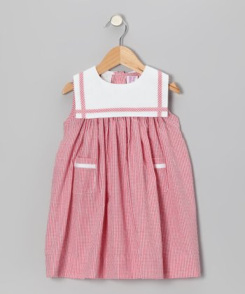 Red Gingham Seersucker Sailor Float Dress - Infant