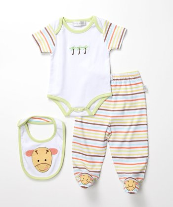 Stripe Giraffe Footie Pants Set
