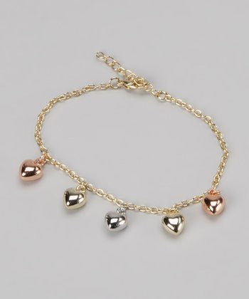 Tri-Color Puffy Heart Charm Bracelet