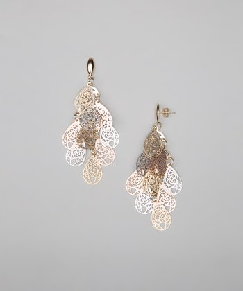 Tricolor Dangling Filigree Drop Earrings